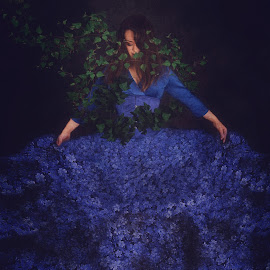 Tangled by Chrystal Olivero - Digital Art Abstract ( blue, fine art photography, flowers, conceptual, manipulation, photoshop )