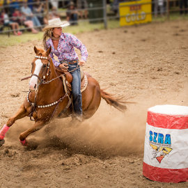 Barrel Race by Gary Beresford - Sports & Fitness Rodeo/Bull Riding ( barrel race, woman, horse, australia, rodeo, jindabyne )