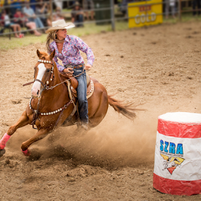 Barrel Race by Gary Beresford - Sports & Fitness Rodeo/Bull Riding ( barrel race, woman, horse, australia, rodeo, jindabyne )