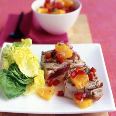Tuna with Orange-Pepper Salsa