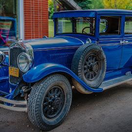 Vintage 75-992 by Jun Sigue - Transportation Automobiles ( car, old car, vintage, wheels, transportation, travel, roadside, road, running, blue, transport, road trip, outdoor, vintage car, roads )
