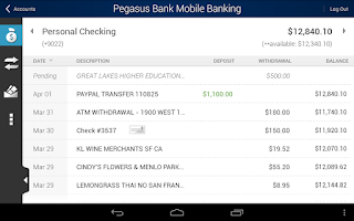 Screenshot of Pegasus Bank Mobile Banking