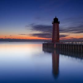 Not frozen yet by Edward Deiro - Landscapes Sunsets & Sunrises ( lake michigan, lighthouses,  )