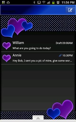 GO SMS - Night Sky Hearts