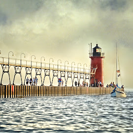Coming Home by Betty Arnold - Buildings & Architecture Bridges & Suspended Structures ( south haven lighthouse, waterscape, lighthouse and pier, tilight, lighthouse, landscape )