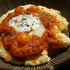 Cheesy Polenta with Grilled Cherry Tomato Sauce