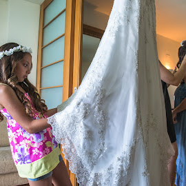 Checking dress by Yiannis Vourvou - Wedding Getting Ready ( girl, wedding, dress, bride, checking )