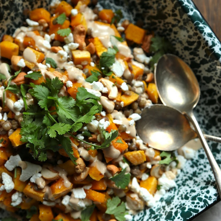 Spiced Butternut Squash, Lentil, And Goat Cheese Salad Recipes ...