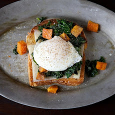 Sautéed Kale, Roasted Sweet Potato and Poached Egg Holiday Toast