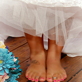 The Feet of a Bride by Freda Nichols - Wedding Bride ( love, woman, feet, toes, toe rings, flowers, people, tatoo, Wedding, Weddings, Marriage )