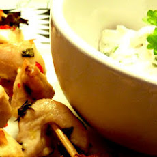 Lemon Chicken Skewers with Dill and Parsley Dip