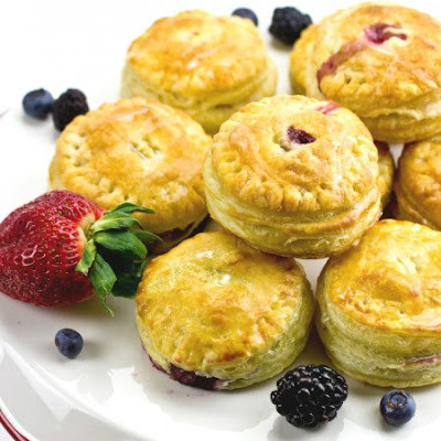 Mini Fruit Puff Pastry with Lemon Glaze