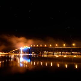 Sortland bridge by Marius Birkeland - Buildings & Architecture Bridges & Suspended Structures ( lights, reflection, reflections, night, bridge )