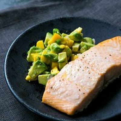 Baked Salmon with Avocado Mango Salsa