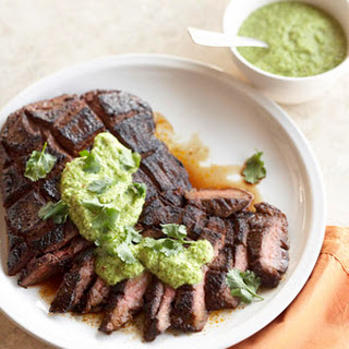 Espresso-Rubbed Steak with Green Chile Pesto