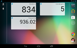Screenshot of AltiVario. Recording altimeter