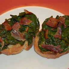 Southern Greens Crostini with Crumbled Bacon and Remoulade Aioli