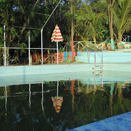 Swimming Pool by Nikita Shinde - Sports & Fitness Swimming ( #pool, #reflection, #blue, #swimming, #umbrella, #water,  )