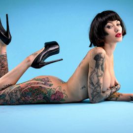 tattoos by Paul Phull - Nudes & Boudoir Artistic Nude ( art nude, tattoos, blue background, heels )