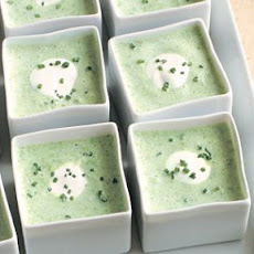 Cold Pea Soup with Crème Fraîche and Chives