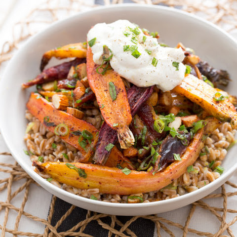 Heirloom Carrot & Toasted Farro Salad with Labneh & Pickled Dates