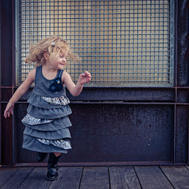 Free Spirit by Dale Foshe - Babies & Children Child Portraits ( child, urban, dancing, blonde, spinning, blue, portrait )