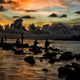 fishman in sunset by Pungki Wibowo - Landscapes Beaches