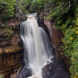 Miners Falls at Pictured Rocks by Kenneth Keifer - Landscapes Forests ( stream, splash, waterfall, remote, flow, blur, leaves, landscape, national lake shore, nature, secluded, autumn, foliage, creek, long exposure, wet, motion, rocks, boulders, spray, flowing, national lakeshore, cliff, munising, wooded, forest, scenic, plunge, woods, alger county, blurred, michigan, upper peninsula, wilderness, national park, splashing, color, cascade, fall, trees, cataract, cascading, miners falls, pictured rocks, whitewater, hike, river, miners )