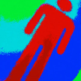 Dear John by Ernie Kasper - Digital Art Abstract ( abstract, sign, person, colourful, colorful, man )