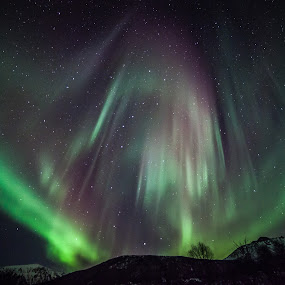 Aurora over hills by Benny Høynes - Landscapes Mountains & Hills ( hills, northernlights, aurora, boreoalis )