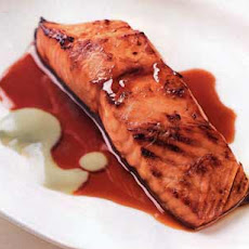 Salmon with Soy-Honey and Wasabi Sauces