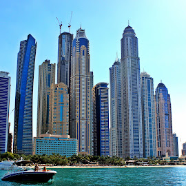 Into the Blue by Kaajal Lamba - City,  Street & Park  Skylines ( skyline, blue, dubai, high rise, sea )