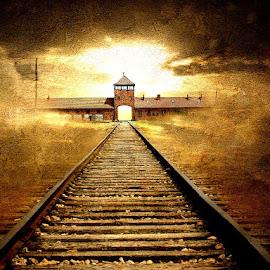 The Gate to Hell by Bjørn Borge-Lunde - Digital Art Places ( war camp, birkenau, railway, sunset, skies, war, poland )