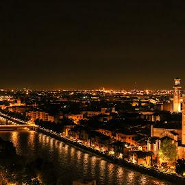 Verona by Natalia Dobrescu - City,  Street & Park  Historic Districts ( scape, verona, canon70d, town, cityscape, district, italy, historic, photography, nightscape, city )