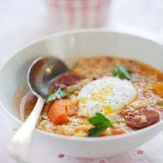 White Lentil Soup With Chorizo And Paprika Cream