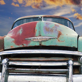 Head on by Joerg Schlagheck - Transportation Automobiles ( clouds, car, old, chevrolet, head on., facing, rusty, classic,  )