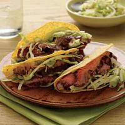 Avocado Salad-Topped Steak Tacos