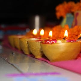 Diwali Lights by Kavidas Mate Patil - Artistic Objects Other Objects ( diwali, laxmi, diya )
