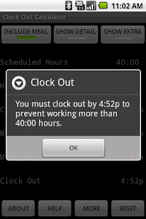 Clock Out Calculator - screenshot