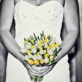 Tulips by Alan Evans - Wedding Details ( yellow flowers, white flowers, wedding photography, melbourne wedding photographer, wedding day, wedding, aj photography, wedding flowers, wedding dress, tulips, flowers, bride,  )
