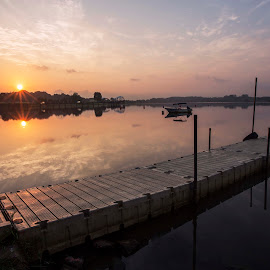 A Double sun-rise by Carol Kheng - Landscapes Sunsets & Sunrises ( #singapore, #bridge, #sunrise )