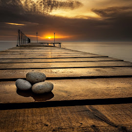 Three on the bridge by Evgeni Ivanov - Buildings & Architecture Bridges & Suspended Structures ( water, clouds, cloudscape, stone, sea, beach, seascape, sunlight, coastline, landscape, sun, wooden, dawn, sky, nature, sunset, dust, summe, pier, long exposure, sunrise, bridge )