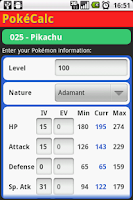 Screenshot of PokéCalc Master Edition