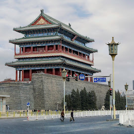 Tall in Beijing by Barb Hauxwell - Buildings & Architecture Other Exteriors ( building, lampost, color, street, beijing, china )