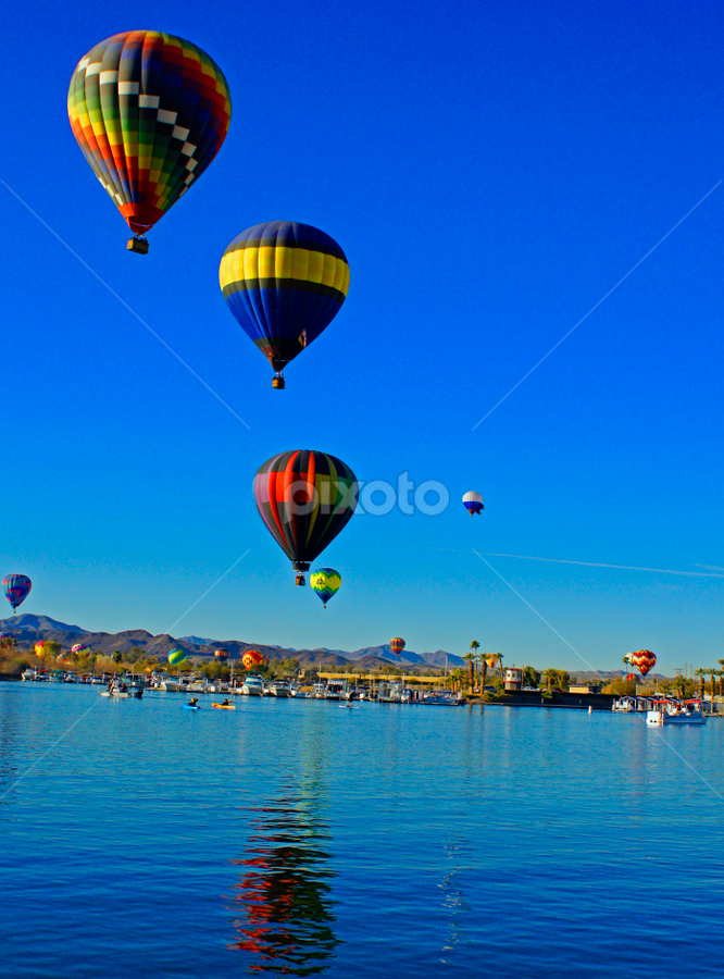 Hot Air Balloon Over The River by Tina Hailey - Transportation Other ( lake havaus hot air balloon testable, festival, , Free, Freedom, Inspire, Inspiring, Inspirational, Emotion, air, transport )