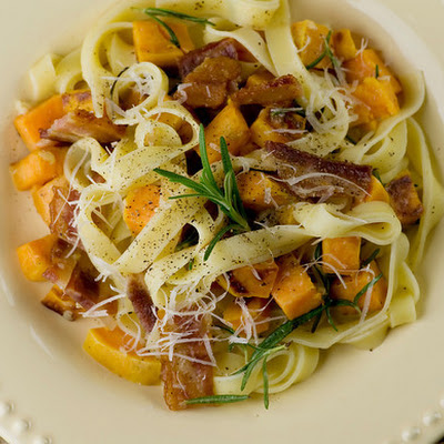 Fettuccine with Sweet Potatoes, Bacon and Rosemary