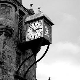 Old Clock by Antonio Sunara - Buildings & Architecture Architectural Detail ( royal mile, scotland, edinburgh, clock, black and white )