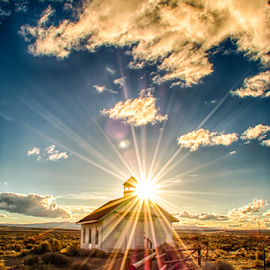 Fort Rock Schoolhouse by Trisha Lookabill - Landscapes Sunsets & Sunrises ( oregon, schoolhouse, sunset, fort rock, eastern oregon )