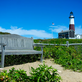 Bench by Robert Kiss - Buildings & Architecture Public & Historical ( montauk, building, nature, bench, long island, lighthouse, historical, new york )