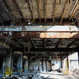 Light Pouring in the Darkness by Ashley McCuen - Buildings & Architecture Decaying & Abandoned ( building, colorful, beauty, architecture, detroit michigan fisher building, forgotten, decay, abandoned )
